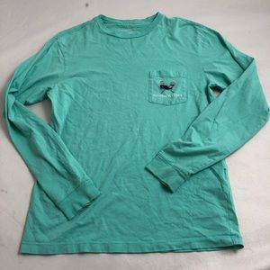 Vineyard Vines green/navy lacrosse long sleeve tee